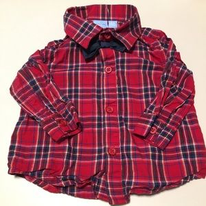 NWOT Children's Place Plaid Bow Tie Shirt 3-6